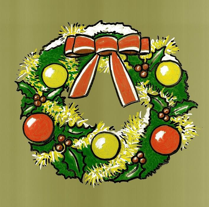 Couronne de Noël réalisée aux feutres gouachés sur transparent A4.
