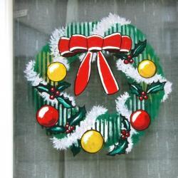 Couronne de Noël réalisée à l'acrylique sur verre.
