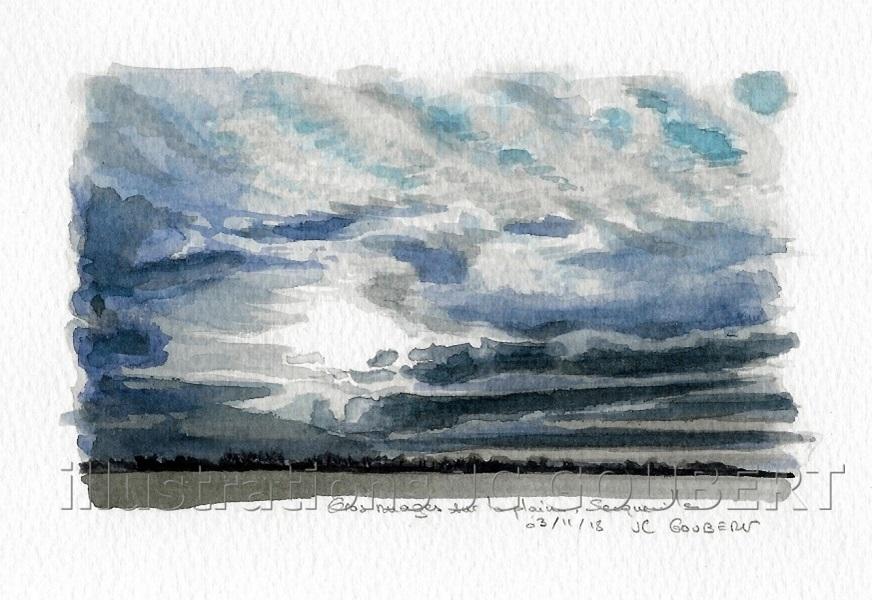 Gros nuages sur Secqueville-en-Bessin