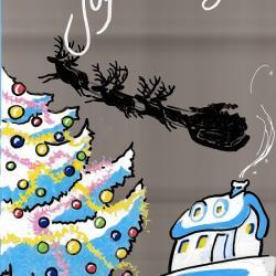 Composition de Noël, feutres gouachés.