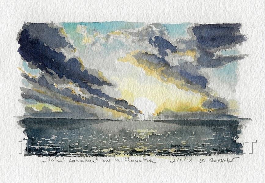 Soleil couchant sur la Manche